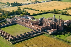 Veduta aerea della Certosa di Pavia, Monastero.