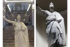 Ritratto-di-Ferdinando-IV-modellino-in-gesso-e-opera-in-marmo-in-prospettiva