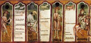 Calendario, particolare del primo semestre, Oratorio di San Pellegrino, Bominaco (AQ)